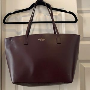 Maroon kate spade patent leather tote
